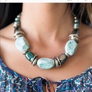 In Good Glazes- Blue Necklace w/matching earrings